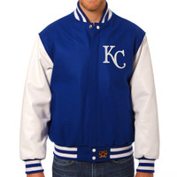 Kansas City Royals MLB Mens Heavyweight Wool and Leather Jacket