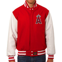 Los Angeles Angels MLB Mens Heavyweight Wool and Leather Jacket