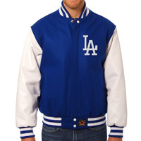Los Angeles Dodgers MLB Mens Heavyweight Wool and Leather Jacket