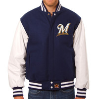 Milwaukee Brewers MLB Mens Heavyweight Wool and Leather Jacket
