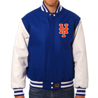 New York Mets MLB Mens Heavyweight Wool and Leather Jacket