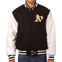 Oakland Athletics MLB Mens Heavyweight Wool and Leather Jacket