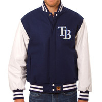 Tampa Bay Rays MLB Mens Heavyweight Wool and Leather Jacket