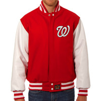 Washington Nationals MLB Mens Heavyweight Wool and Leather Jacket