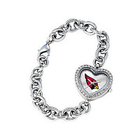*Arizona Cardinals Stainless Steel Rhinestone Ladies Heart Link Watch