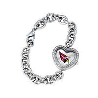*Arizona Cardinals Stainless Steel Rhinestone Ladies Heart Link Watch