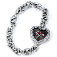 *Atlanta Falcons Stainless Steel Rhinestone Ladies Heart Link Watch