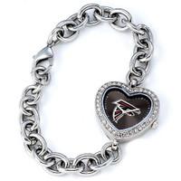 *Atlanta Falcons Stainless Steel Rhinestone Ladies Heart Link Watch
