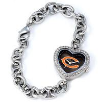 *Chicago Bears Stainless Steel Rhinestone Ladies Heart Link Watch