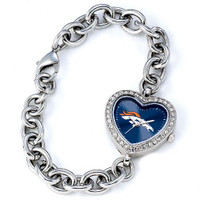 *Denver Broncos Stainless Steel Rhinestone Ladies Heart Link Watch