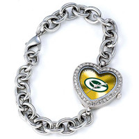 *Green Bay Packers Stainless Steel Rhinestone Ladies Heart Link Watch