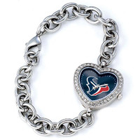 *Houston Texans Stainless Steel Rhinestone Ladies Heart Link Watch