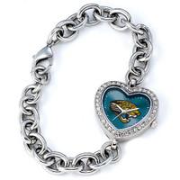 *Jacksonville Jaguars Stainless Steel Rhinestone Ladies Heart Link Watch