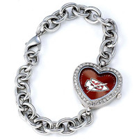 *Kansas City Chiefs Stainless Steel Rhinestone Ladies Heart Link Watch