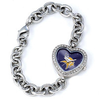*Minnesota Vikings Stainless Steel Rhinestone Ladies Heart Link Watch
