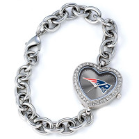 *New England Patriots Stainless Steel Rhinestone Ladies Heart Link Watch