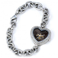 *New Orleans Saints Stainless Steel Rhinestone Ladies Heart Link Watch