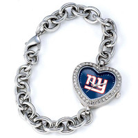 *New York Giants Stainless Steel Rhinestone Ladies Heart Link Watch