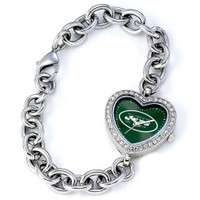*New York Jets Stainless Steel Rhinestone Ladies Heart Link Watch