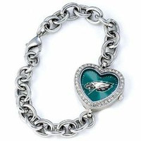 *Philadelphia Eagles Stainless Steel Rhinestone Ladies Heart Link Watch