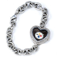 *Pittsburgh Steelers Stainless Steel Rhinestone Ladies Heart Link Watch