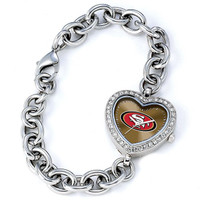 *San Francisco 49ers Stainless Steel Rhinestone Ladies Heart Link Watch