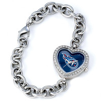 *Tennessee Titans Stainless Steel Rhinestone Ladies Heart Link Watch