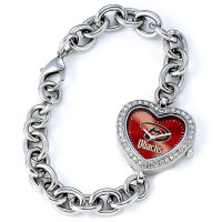 Arizona Diamondbacks Stainless Steel Rhinestone Ladies Heart Link Watch