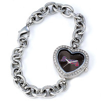 Atlanta Braves Stainless Steel Rhinestone Ladies Heart Link Watch