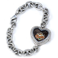 Baltimore Orioles Stainless Steel Rhinestone Ladies Heart Link Watch