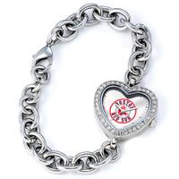 Boston Red Sox Stainless Steel Rhinestone Ladies Heart Link Watch