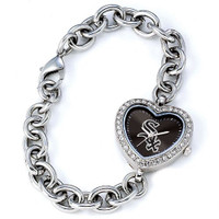Chicago White Sox Stainless Steel Rhinestone Ladies Heart Link Watch