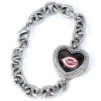 Cincinnati Reds Stainless Steel Rhinestone Ladies Heart Link Watch