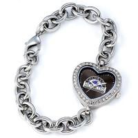 Colorado Rockies Stainless Steel Rhinestone Ladies Heart Link Watch