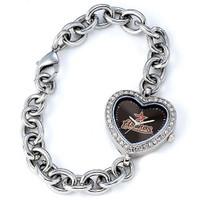 Houston Astros Stainless Steel Rhinestone Ladies Heart Link Watch