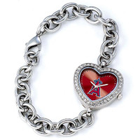 Los Angeles Angels Stainless Steel Rhinestone Ladies Heart Link Watch