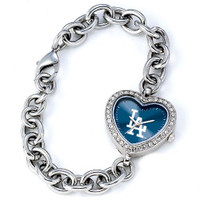 Los Angeles Dodgers Stainless Steel Rhinestone Ladies Heart Link Watch