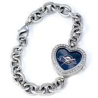 Milwaukee Brewers Stainless Steel Rhinestone Ladies Heart Link Watch