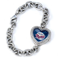 Minnesota Twins Stainless Steel Rhinestone Ladies Heart Link Watch