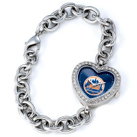 New York Mets Stainless Steel Rhinestone Ladies Heart Link Watch
