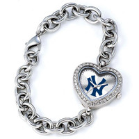 New York Yankees Stainless Steel Rhinestone Ladies Heart Link Watch