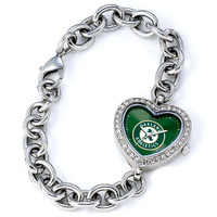Oakland Athletics Stainless Steel Rhinestone Ladies Heart Link Watch