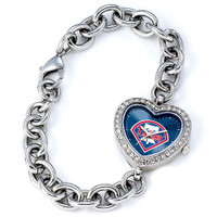 Philadelphia Phillies Stainless Steel Rhinestone Ladies Heart Link Watch