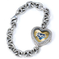 San Diego Padres Stainless Steel Rhinestone Ladies Heart Link Watch