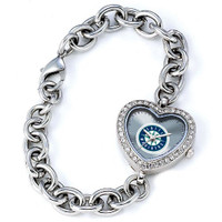 Seattle Mariners Stainless Steel Rhinestone Ladies Heart Link Watch