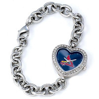 St. Louis Cardinals Stainless Steel Rhinestone Ladies Heart Link Watch
