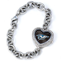Toronto Blue Jays Stainless Steel Rhinestone Ladies Heart Link Watch