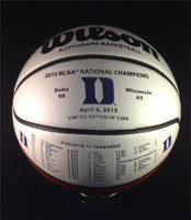 Duke Blue Devils 2015 NCAA Championship Leather Basketball LE 5000