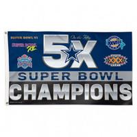 Dallas Cowboys 5 Time Super Bowl Champion 3' x 5' Team Flag