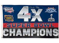 New England Patriots 4 Time Super Bowl 3' x 5' Team Flag